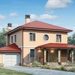 Проект двухэтажного дома из газобетона с гаражом Г-4