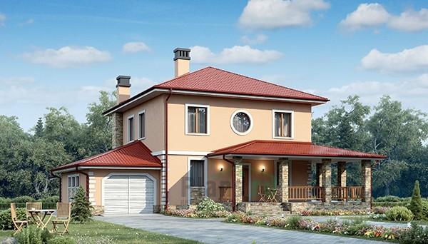 Двухэтажный дом из газобетона с гаражом