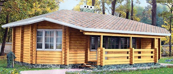 Проект одноэтажного дома из бревна БР-1