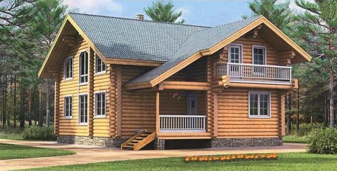 Проект дома из бревна с цокольным этажом БР-4