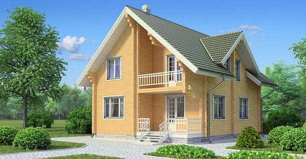 Проект двухэтажного дома из бруса БС-3