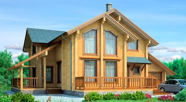 Проект двухэтажного дома из бруса с гаражом БС-4
