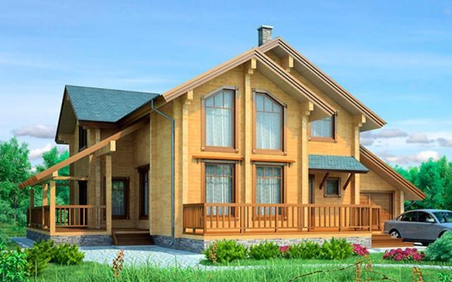 Двухэтажный дом из бруса с гаражом