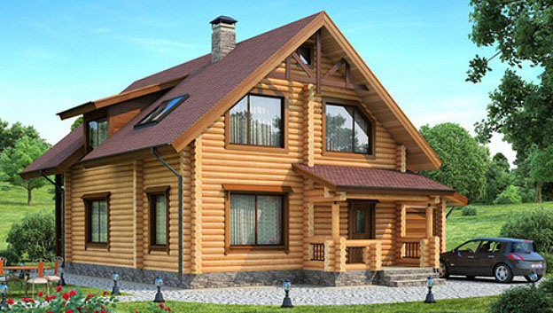 Двухэтажный дом из бревна с гаражом