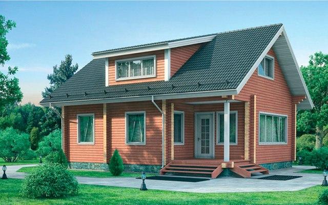 Двухэтажный типовой дом из бруса