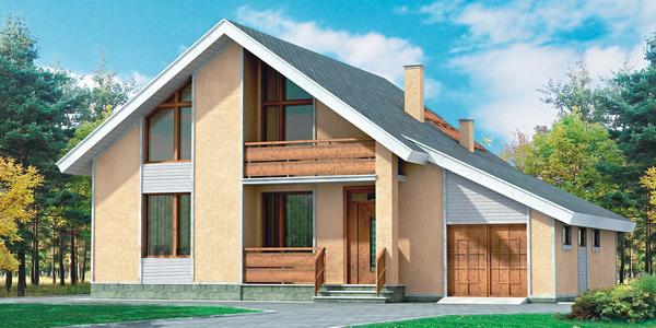 Проект двухэтажного каркасного дома с гаражом КС-3