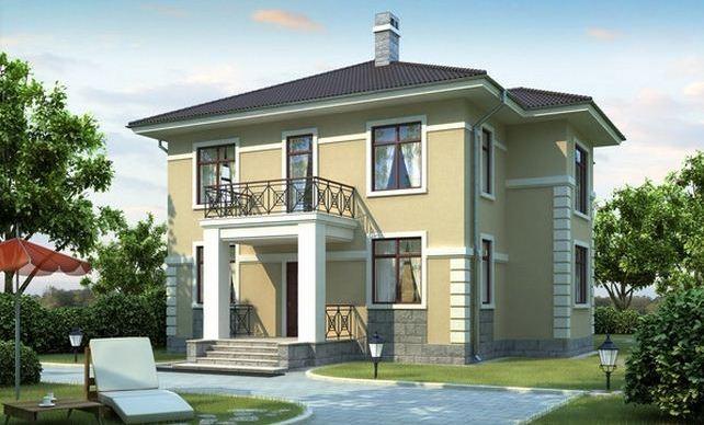 Двухэтажный дом из кирпича