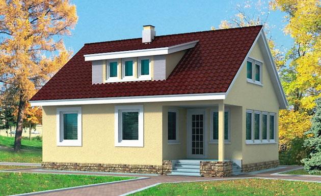 Проект двухэтажного каркасного дома КС-2