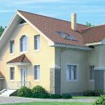 Проект двухэтажного кирпичного дома с гаражом К-2