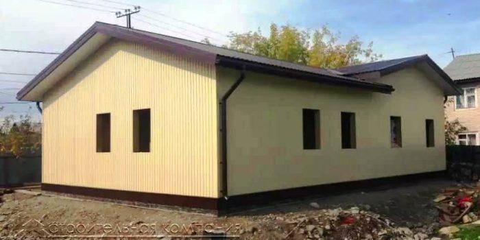 Одноэтажный каркасный дом с гаражом на 2 машины